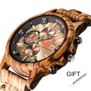 Natural Zebra Wood Wristwatch - The Discount Market