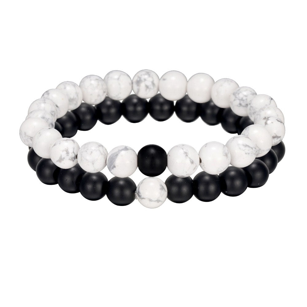 2Pcs Black And White Natural Stone Beaded Unisex Bracelet - The Discount Market