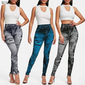 Distressed Denim Jeans Leggings - The Discount Market