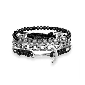 3 Piece Multi-layer Leather Beaded Bracelet - The Discount Market