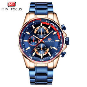Men's Quartz Stainless Steel Waterproof Chronograph Business Wrist Watch - The Discount Market