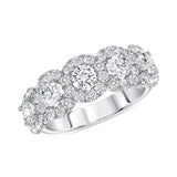 Round Cut Halo, Half Eternity Band