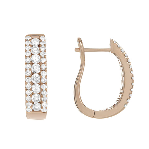 Round Diamond U Earrings