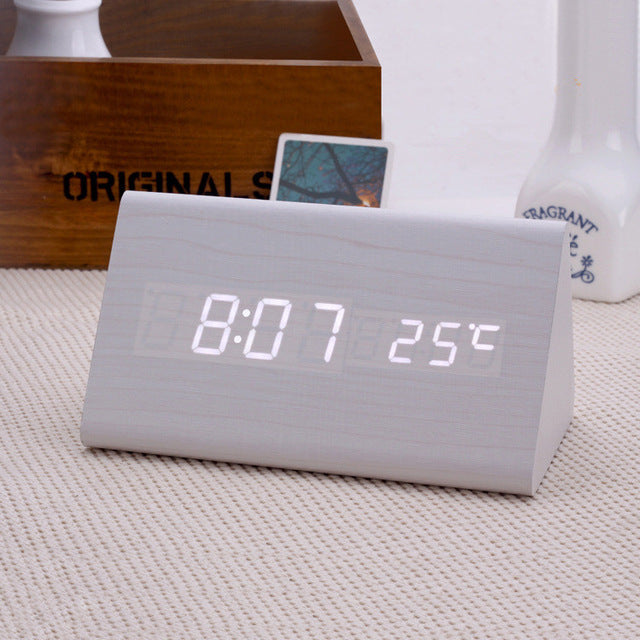 Minimalist Triangular LED Table Alarm Clock