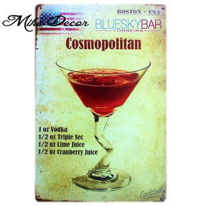 Tin Sign - Classic Cocktails