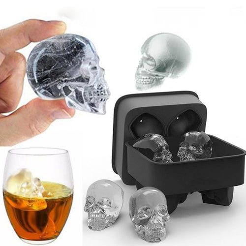 Large Skull 3D Ice Cube Mold 4-Cube