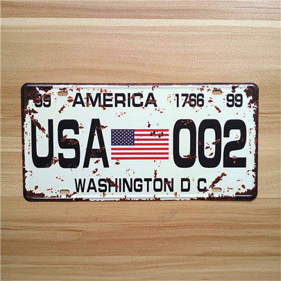 Distressed Vintage License Plate Number