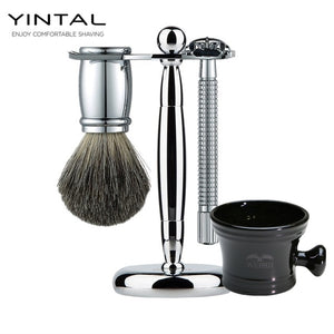 Luxury Men's 4pc Shaving Safety Razor Set w/ Ceramic Bowl, by Yintal