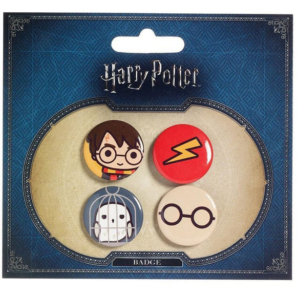 Harry Potter Cute Button Badge 4-Pack: Harry Potter & Hedwig