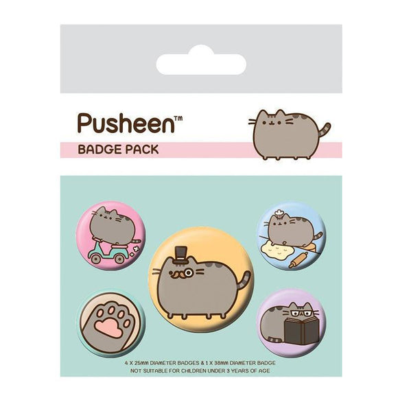 Pusheen Pin Badges 5-Pack: Fancy