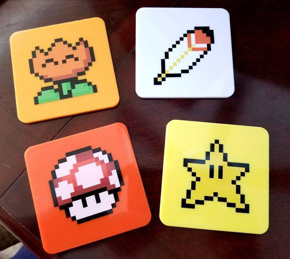 Super Mario World Coaster 4-Pack Power-Ups Lootcrate Exclusive