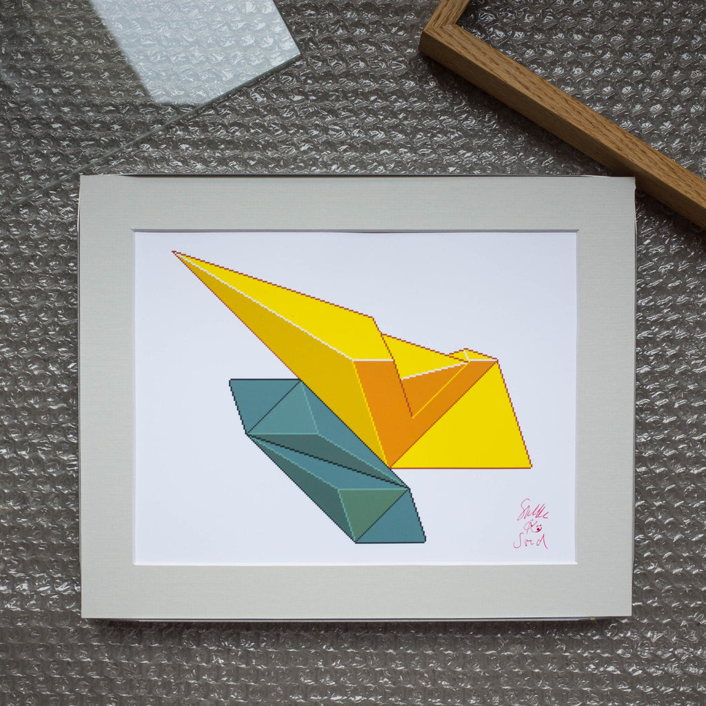 Double Green & Yellow Art Print