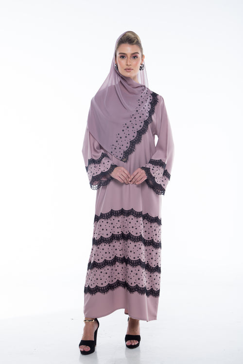 Tiered Lace Abaya in Chestnut