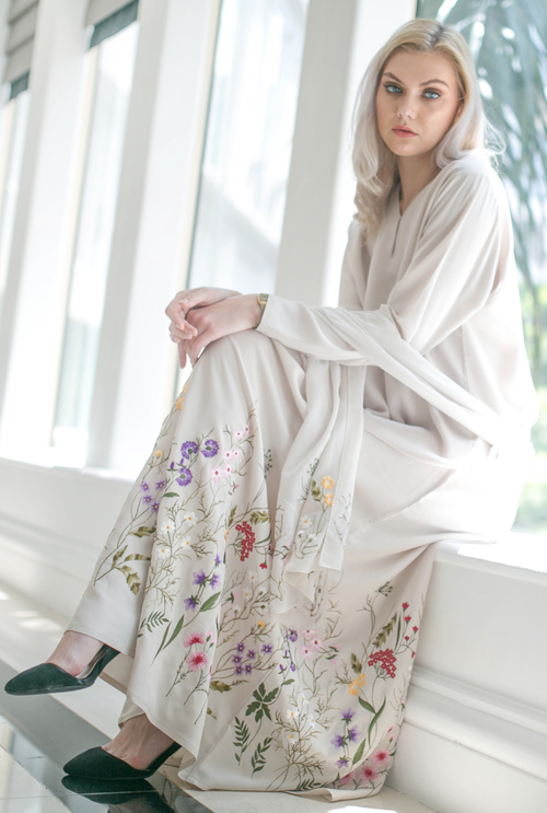 Wildflower Abaya in Cream
