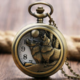 Wolf Hound Dog Bronze Copper Pocket Watch - fashionemy-new