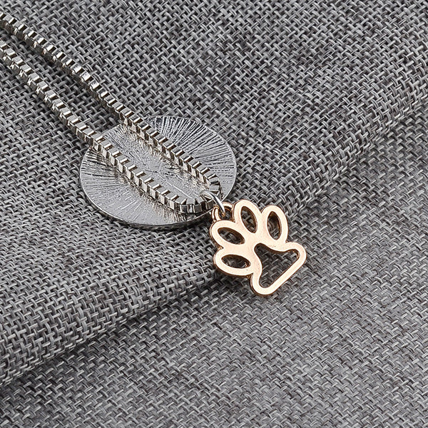 Lettering LIVE LOVE RESCUE Hollow Gold Paw Claw Pendant Necklace - fashionemy-new