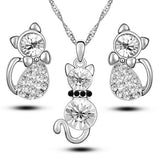 Cute Cat Jewelry Sets Necklace Earrings with Crystal - fashionemy-new
