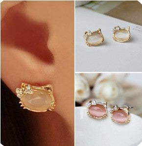 Crystal Bowknot Cute Cat Earrings For Women - fashionemy-new
