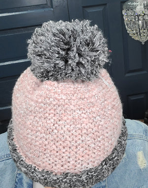 Puff Ball Beanie Grey & Pink - Phoenix Remix