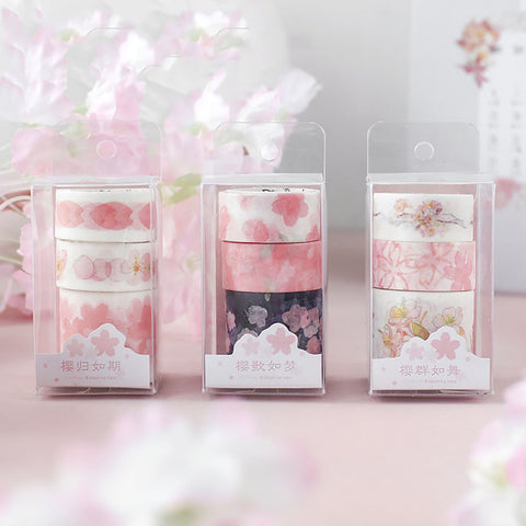 3pcs Sakura Series Washi Masking Tape