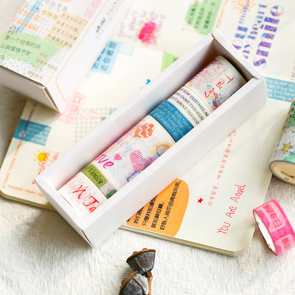 6pcs Simple Love Series Decoration Washi Tape