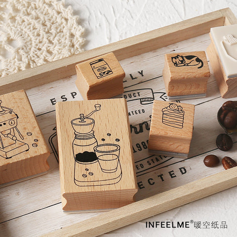 Infeel.Me Coffee Time 17pcs Wood Stamp Set