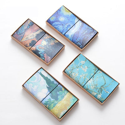 1 Piece Oil Painting Leather Planner with Bandage KINIYO Stationery