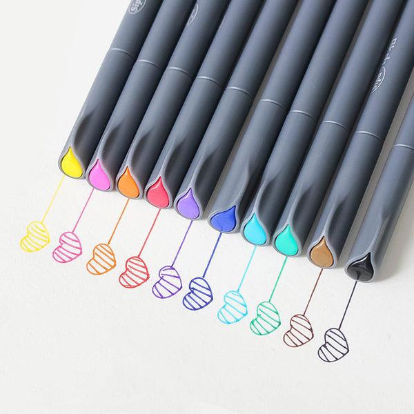 10pcs 0.38mm Colorful Fineliner Pens