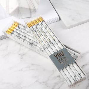10pcs HB Marble Pattern Pencil with Eraser