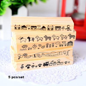 5pcs Wooden Cute Cartoon Long Stamp Bar