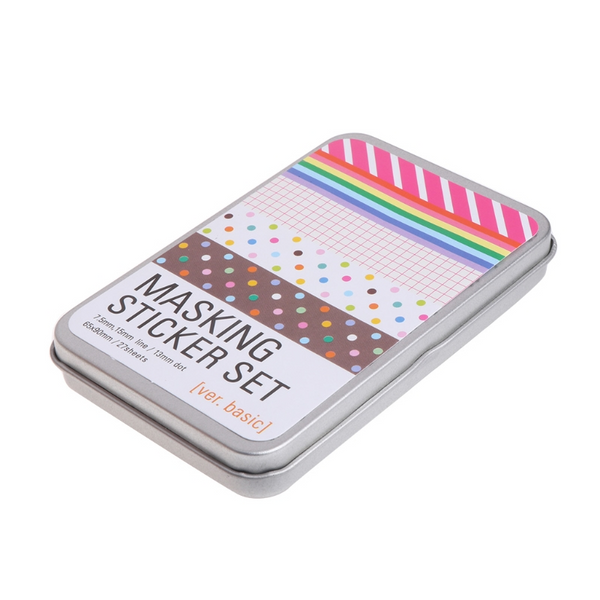 27 Sheets Basic Masking Sticker Set in 1 Tin Case