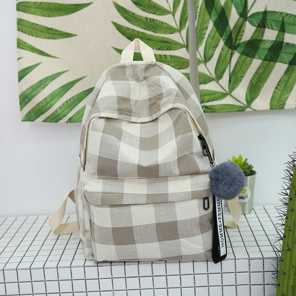 Chic Harajuku Style Casual Grid Canvas Backpack