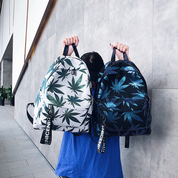 Reflective Weed Leaf Canvas Backpack