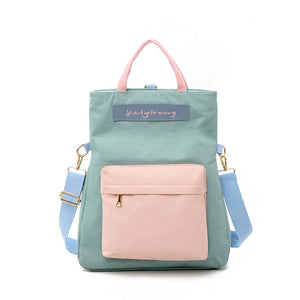 Contrast Color Biservice Shoulder Bag/Backpack