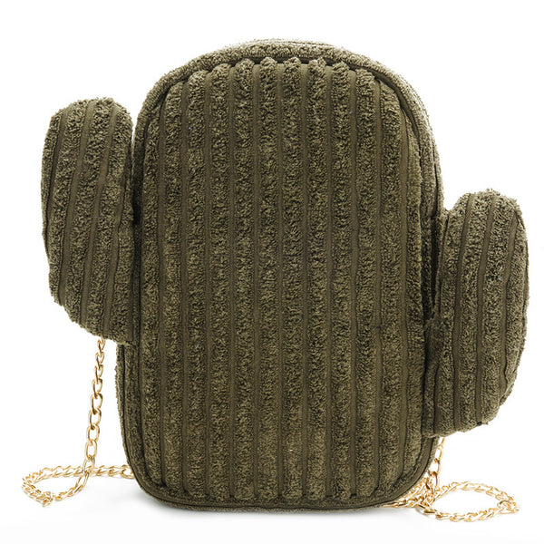 Lovely Cactus Corduroy Shoulder Bag