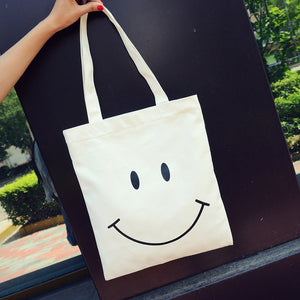 Cartoon Cactus/Cat/Face Canvas Shoulder Bag