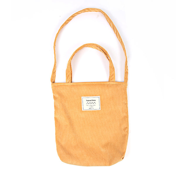 Pure Color Corduroy Handbag Shoulder Bag