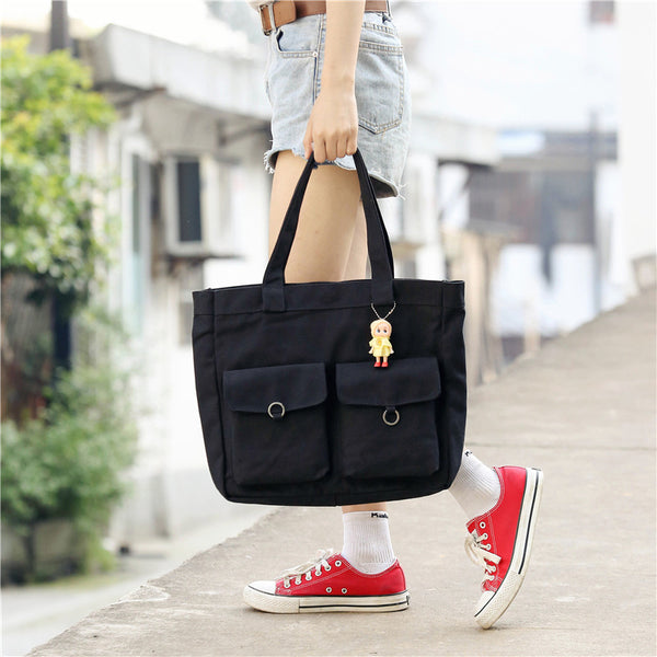 Retro Multi-pocket Magnetic Snap Canvas Shoulder Bag
