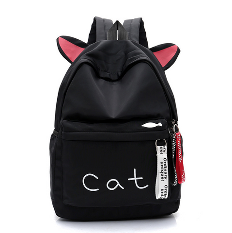 Pure Color Cat Ear Canvas Backpack