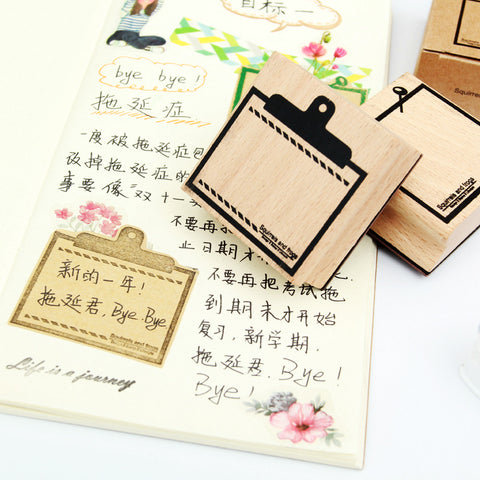 1 Piece Wooden Memo Stamp