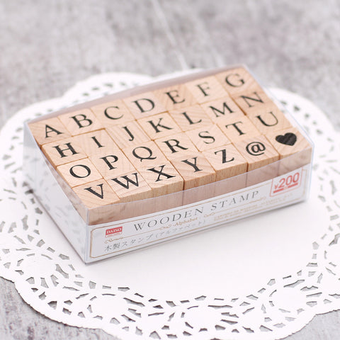 28pcs Japanese Wooden 26-letter Stamp KINIYO Stationery