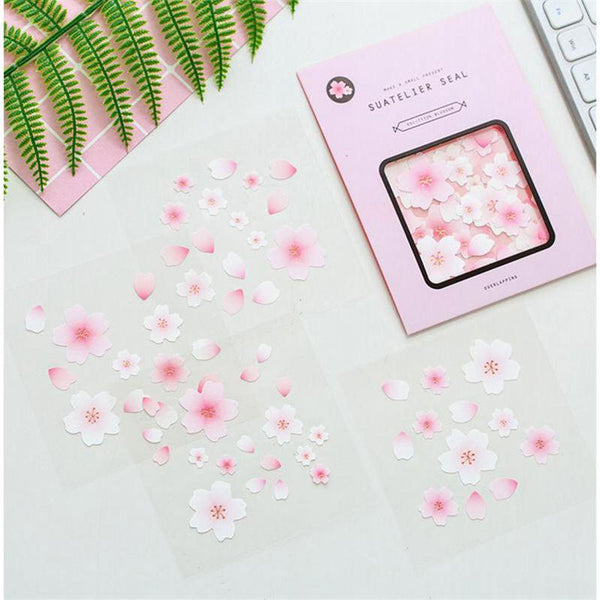 4 Sheets in 1 Box Romantic Sakura DIY Stickers KINIYO Stationery