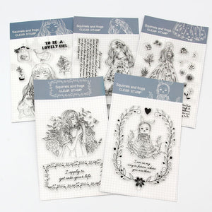 5pcs Princess Transparent Silicone Stamp