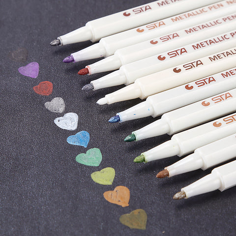 10pcs 0.5mm Colorful Metallic Permanent Marker Pens