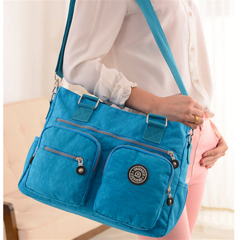 Chic Multi Pockets Nylon Shoulder Bag