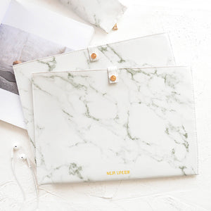 1 Piece A4 PU Leather Marble Pattern Documents Pouch