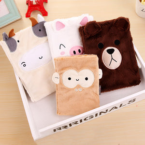 1 Piece 96 Sheets Plush Cover Cartoon Notebook
