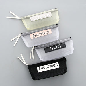 Solid Nylon Mesh  Pen Pencil Case