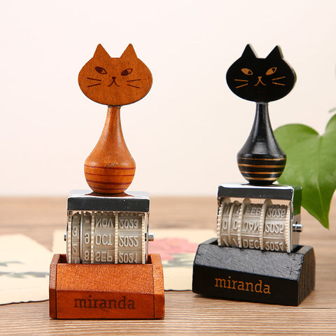 1 Piece Retro Miranda Cat Date Stamp KINIYO Stationery