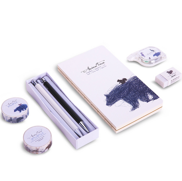 1 Set Stationery with Pen&Pencil&Eraser&Notebook&Correction Tape&Adhesive Tape